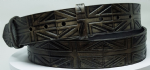 "Union Jack Flag Antique Black Embossed Full Grain Leather Belt . 1½"" (38mm) Wide (1)"